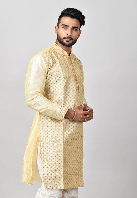Cream Color Raw Silk Embroidery Punjabi (She Punjabi 566)