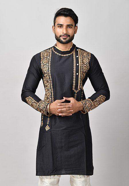 Black Color Handloom Embroidery Punjabi (She Punjabi 575)