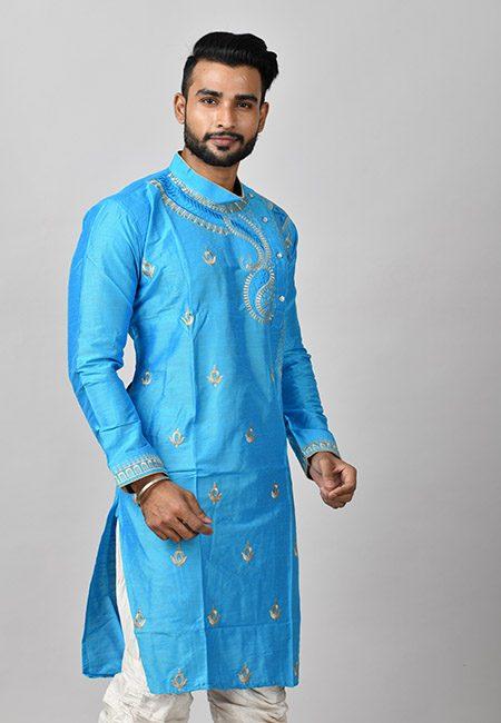 Sky Blue Color Matka Silk Embroidery Punjabi (She Punjabi 590)