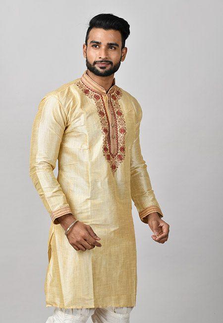 Light Beige Color Matka Silk Embroidery Punjabi (She Punjabi 598)
