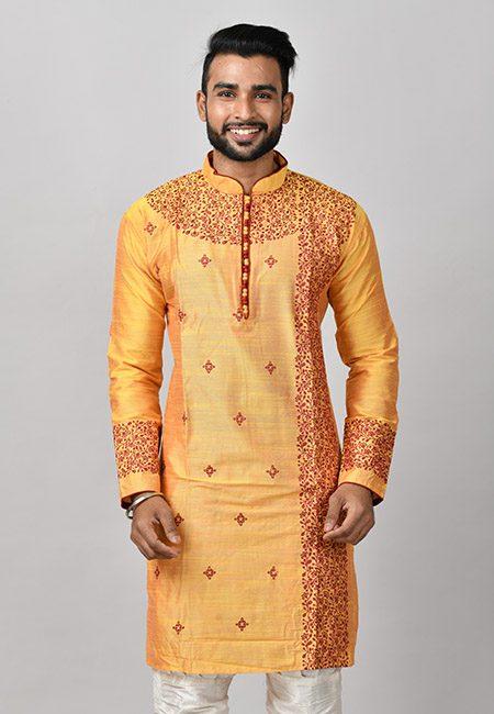 Golden Yellow Color Dopion Silk Embroidery Punjabi (She Punjabi 601)