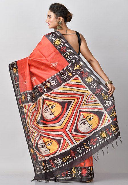 Rust Color Contrast Printed Tussar Silk Saree (She Saree 776)