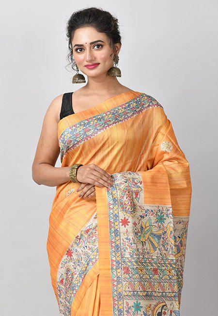 Golden Yellow Color Madhubani Printed Tussar Silk Saree (She Saree 777)
