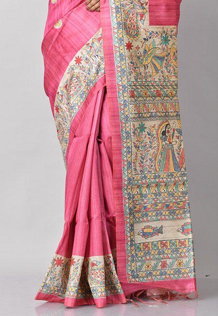 Hot Pink Color Madhubani Printed Tussar Silk Saree (She Saree 780)