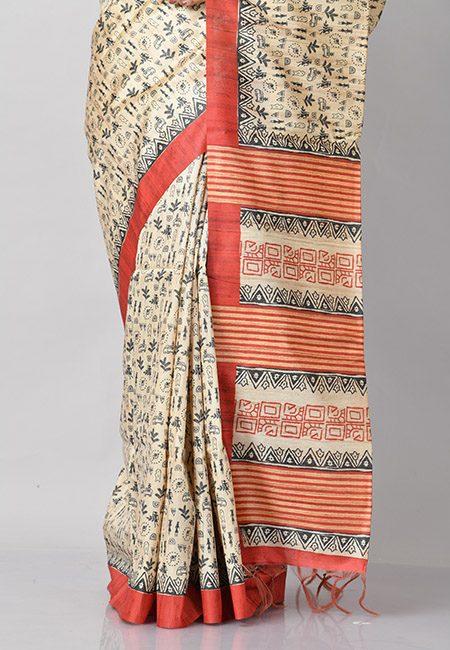 Beige Color Contrast Printed Tussar Silk Saree (She Saree 781)