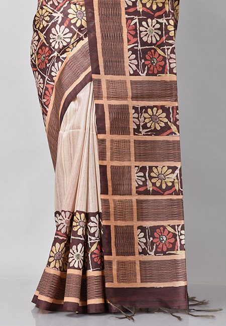 Brown And Beige Color Printed Tussar Silk Saree (She Saree 783)