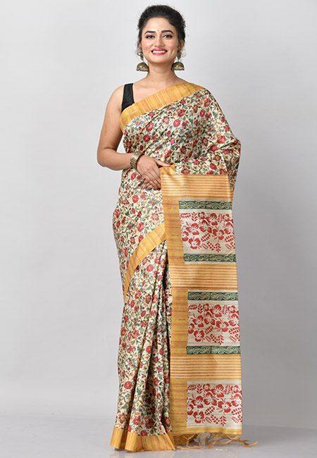 Beige Color Contrast Floral Printed Tussar Silk Saree (She Saree 785)