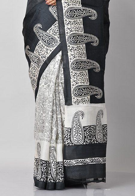 Black And Off White Color Printed Pure Silk Saree (She Saree 786)