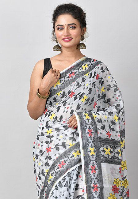 Off White Color Soft Dhakai Jamdani Saree (She Saree 787)