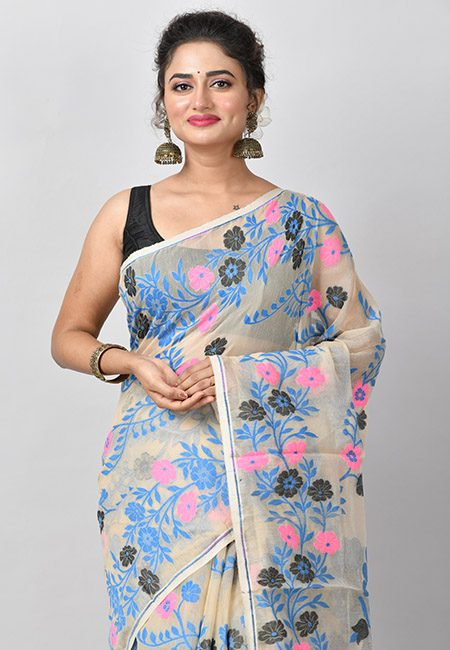 Light Beige Color Soft Dhakai Jamdani Saree (She Saree 790)
