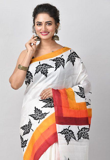 Off White Color Printed Pure Silk Saree (She Saree 794)