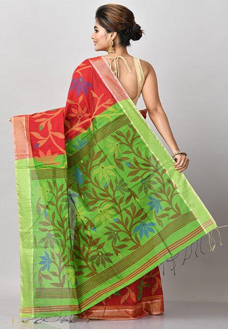 Maroon Color Madhabilata Handloom Cotton Saree (She Saree 805)