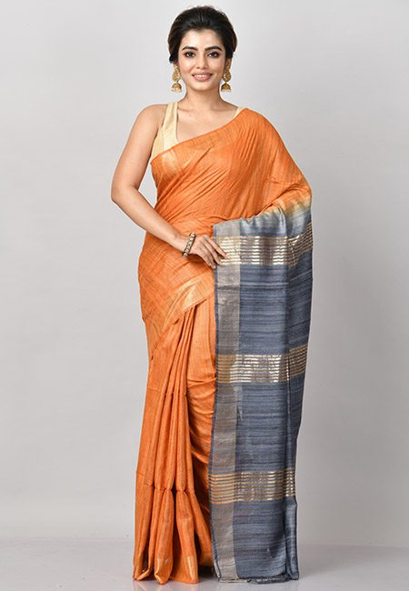 Deep Orange Color Contrast Pure Gicha Silk Saree (She Saree 807)