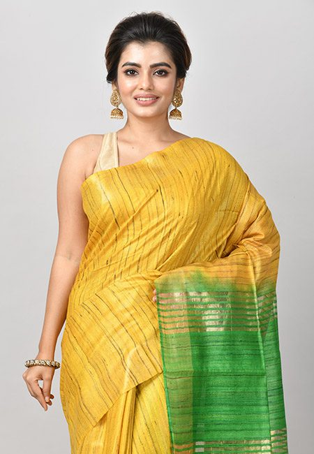 Yellow Color Contrast Pure Gicha Silk Saree (She Saree 808)