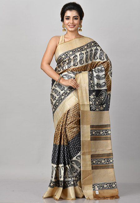 Beige Color Printed Soft Pure Tussar Silk Saree (She Saree 816)