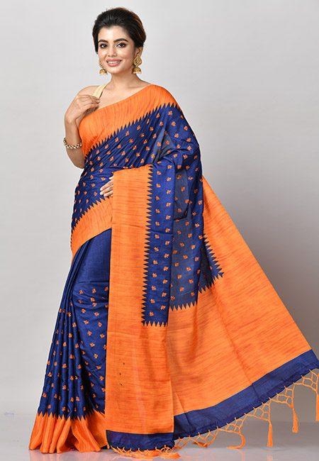 Deep Royal Blue Color Bhagalpuri Silk Saree (She Saree 818)