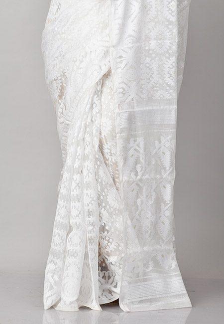 White Color Soft Dhakai Jamdani Saree (She Saree 822)