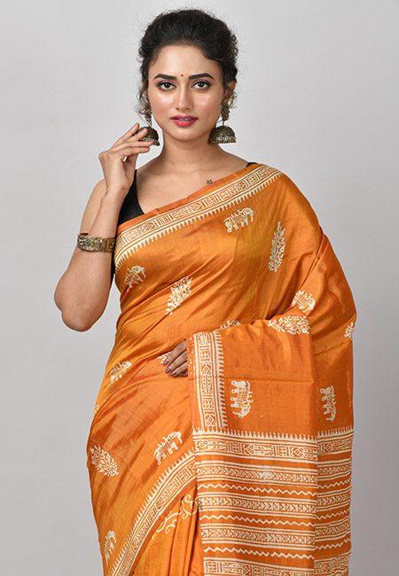 Mustard Color Printed Soft Pure Bishnupuri Silk Saree (She Saree 823)
