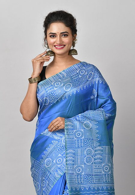 Peacock Blue Color Printed Soft Pure Bishnupuri Silk Saree (She Saree 825)