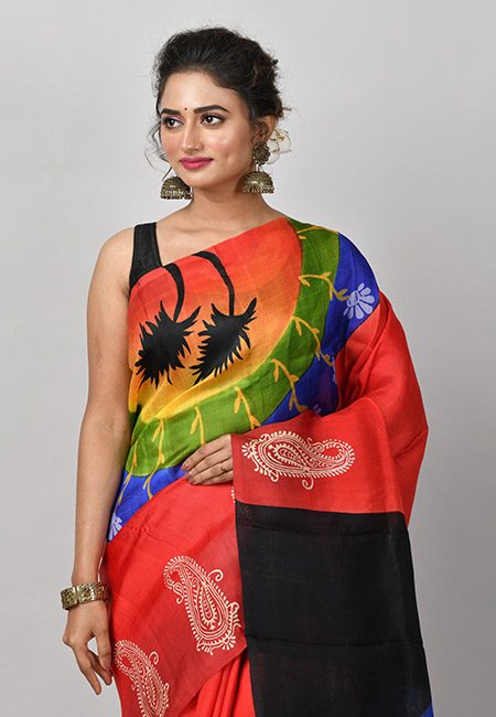 Red Color Printed Soft Pure Silk (She Saree 828)