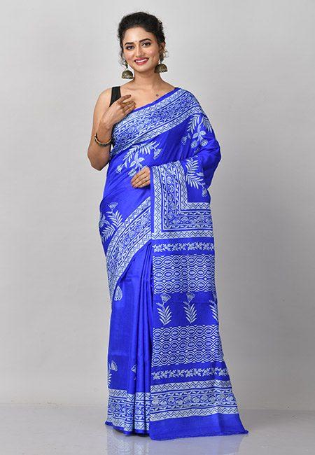 Royal Blue Color Printed Soft Bishnupuri Silk Saree (She Saree 830)