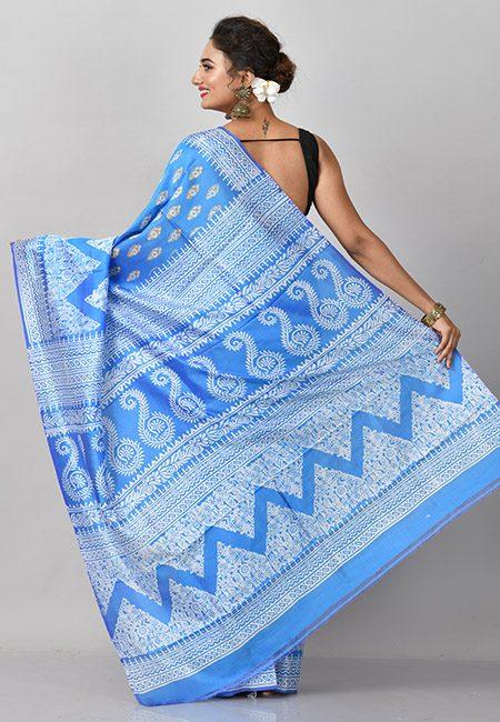 Peacock Blue Color Printed Soft Pure Bishnupuri Silk Saree (She Saree 832)
