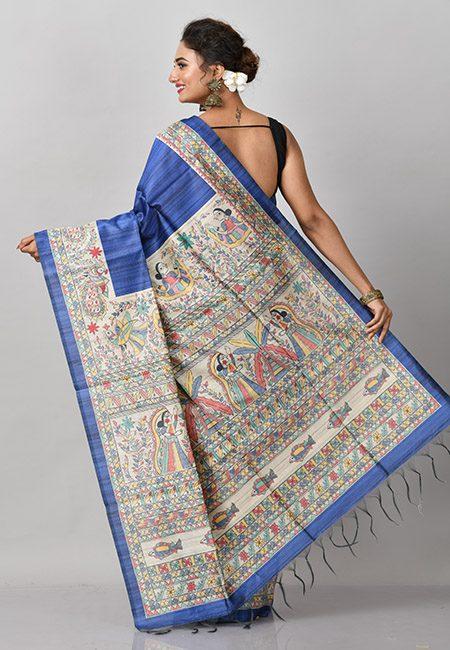 Deep Royal Blue Color Madhubani Printed Tussar Silk Saree (She Saree 836)