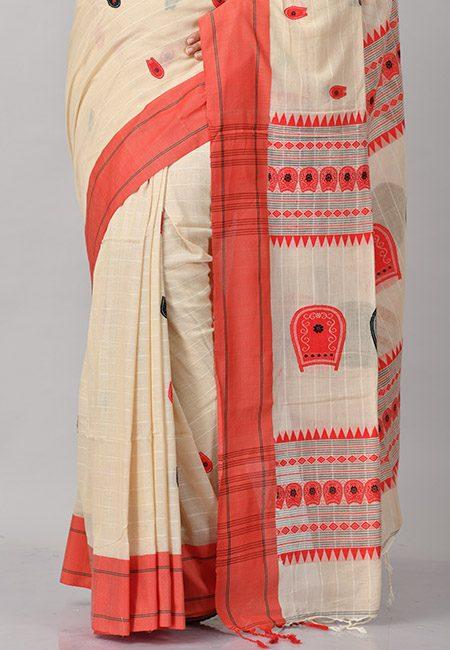 Beige Color Khadi Cotton Saree (She Saree 843)