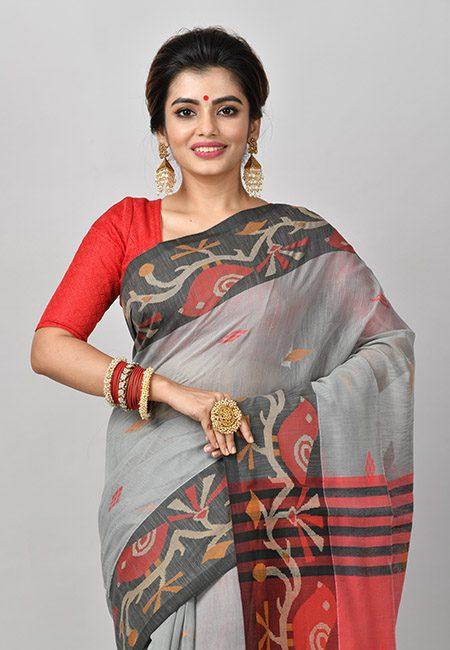 Grey Color Contrast Handloom Cotton Saree (She Saree 845)