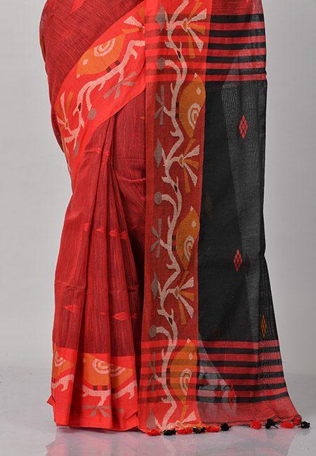 Maroon Color Handloom Cotton Saree (She Saree 846)