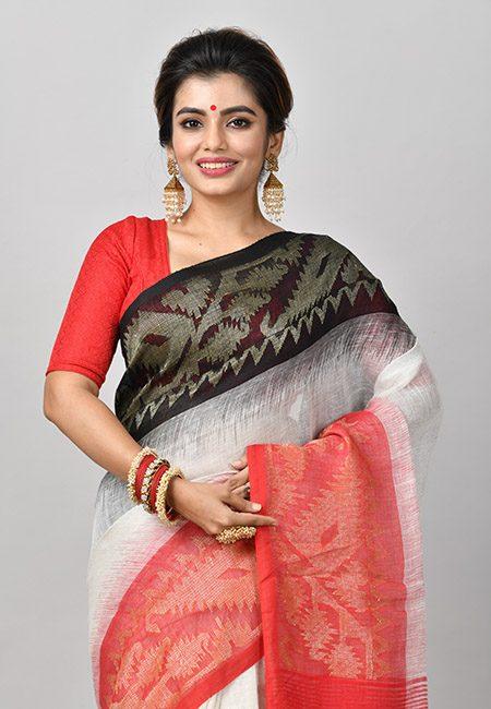 Off White Color Linen Banarasi Cotton Saree (She Saree 847)