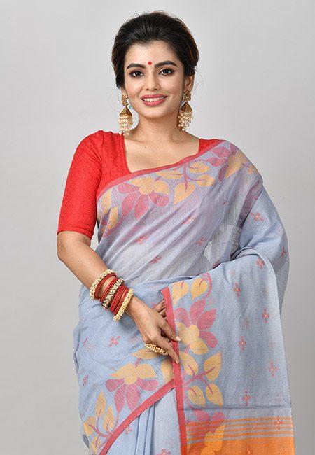 Grey Color Handloom Cotton Saree (She Saree 848)