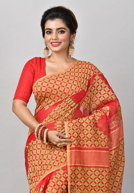 Red Color Soft Dhakai Jamdani Saree (She Saree 852)