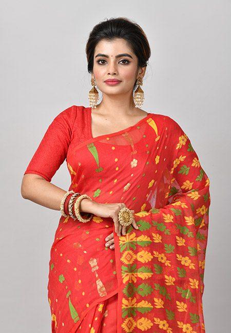 Red Color Soft Dhakai Jamdani Saree (She Saree 853)
