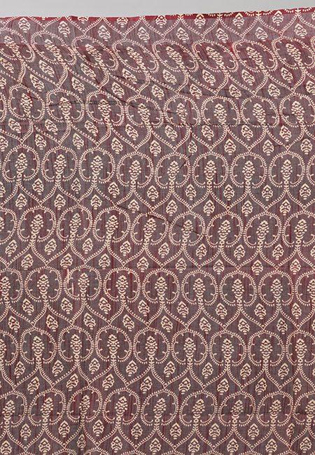 Rust Color Ajrak Printed Linen Cotton Saree (She Saree 862)