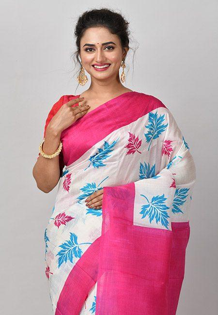 Off White Color Printed Soft Pure Silk Saree (She Saree 864)