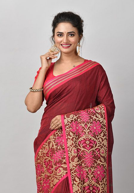 Maroon Color Handloom Cotton Saree (She Saree 865)