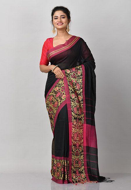 Black Color Handloom Cotton Saree (She Saree 867)