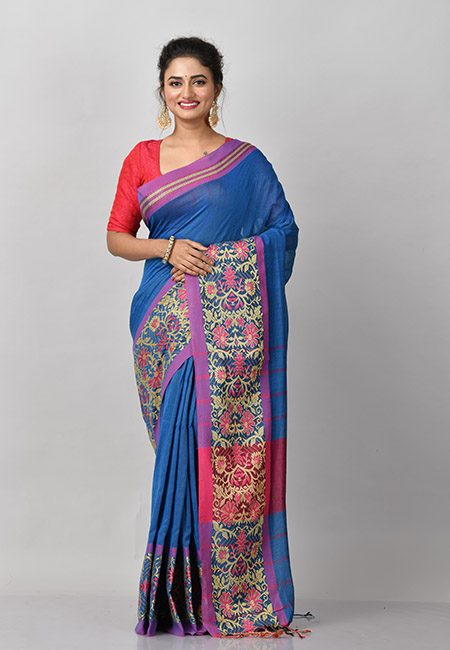 Turquoise Blue Color Handloom Cotton Saree (She Saree 868)