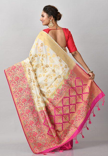 Off White Color Contrast Semi Katan Silk Saree (She Saree 871)