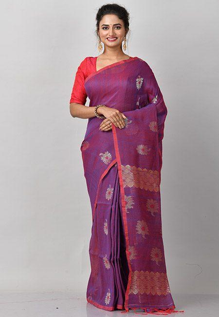Purple Color Linen Banarasi Cotton Saree (She Saree 874)