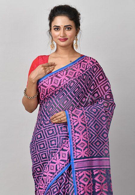 Turquoise Blue Color Soft Dhakai Jamdani Saree (She Saree 875)