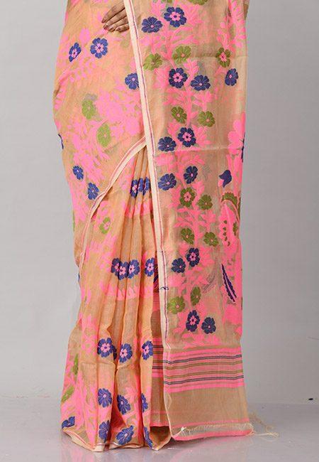 Beige Color Soft Dhakai Jamdani Saree (She Saree 876)