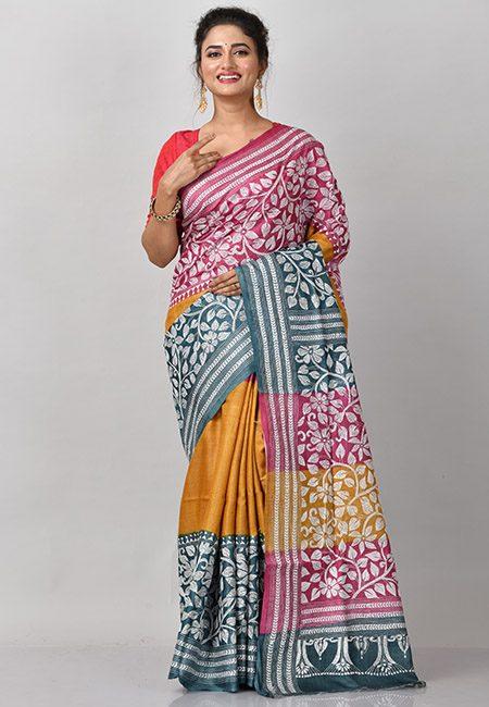 Multi Color Pure Hand Woven Kantha Stitch Silk Saree (She Saree 880)