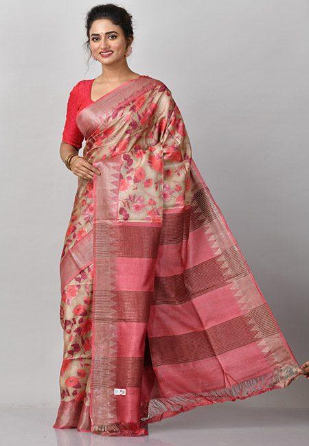 Deep Beige Color Printed Soft Pure Tussar Silk Saree (She Saree 885)
