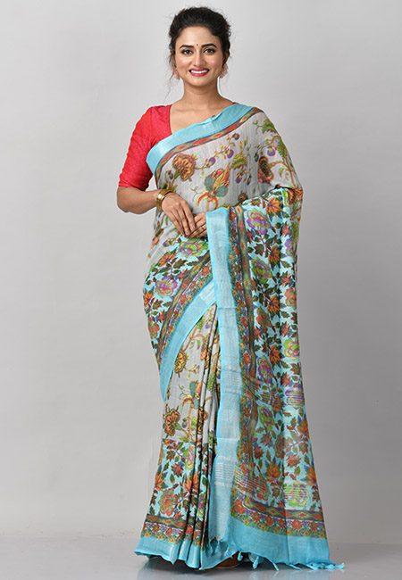 Grey Color Printed Soft Linen Cotton Saree (She Saree 886)