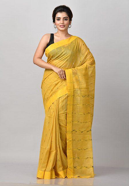 Golden Yellow Color Matka Silk Saree (She Saree 893)