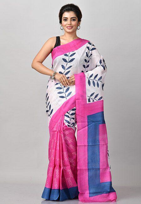 Fuchsia Pink And Off White Color Printed Soft Pure Silk Saree (She Saree 902)