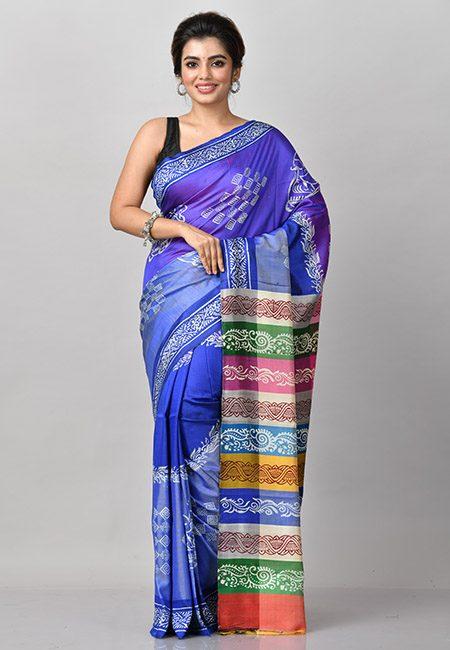 Royal Blue Color Printed Soft Pure Bishnupuri Silk Saree (She Saree 903)
