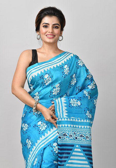 Peacock Blue Color Printed Soft Pure Silk Saree (She Saree 905)